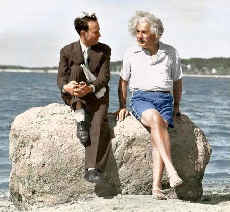 Albert Einstein On A Long Island Beach In 1939