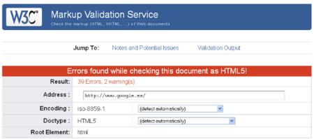 Google suspende en el validador de HTML5