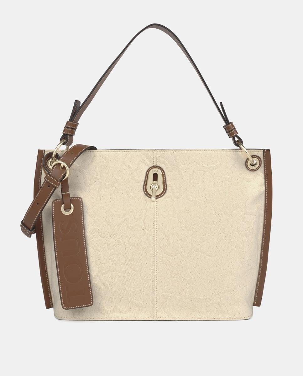 Hobo Tous Icon de piel y algodón bicolor en marrón y beige