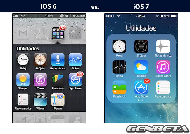 iOS 6 vs. iOS 7 - Carpetas