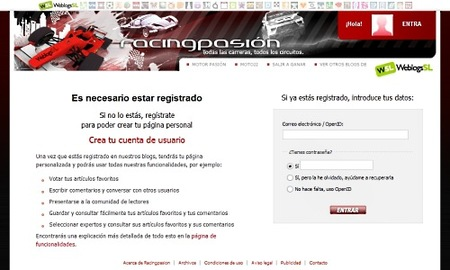 """Registro y """"logueo"""" más rápido en Racingpasión"""