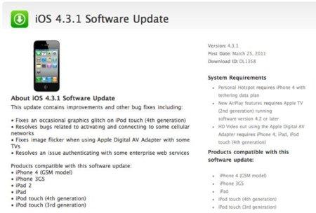 iOS 4.3.1 Actualización de software ya disponible