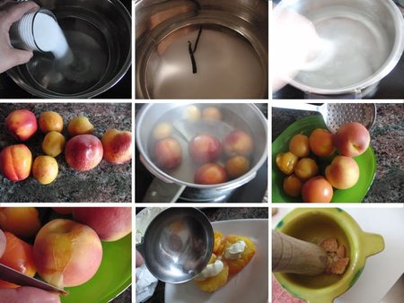 Frutas escalfadas con mascarpone y galletas
