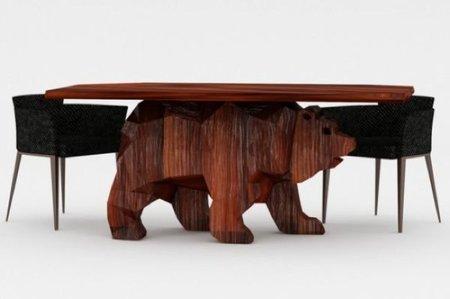 Otra de muebles con forma de animal, la mesa oso