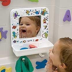 Espejo para jugar en la bañera