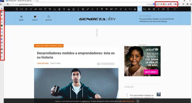 El sitio web de GenbetaDev en el navegador Mantra