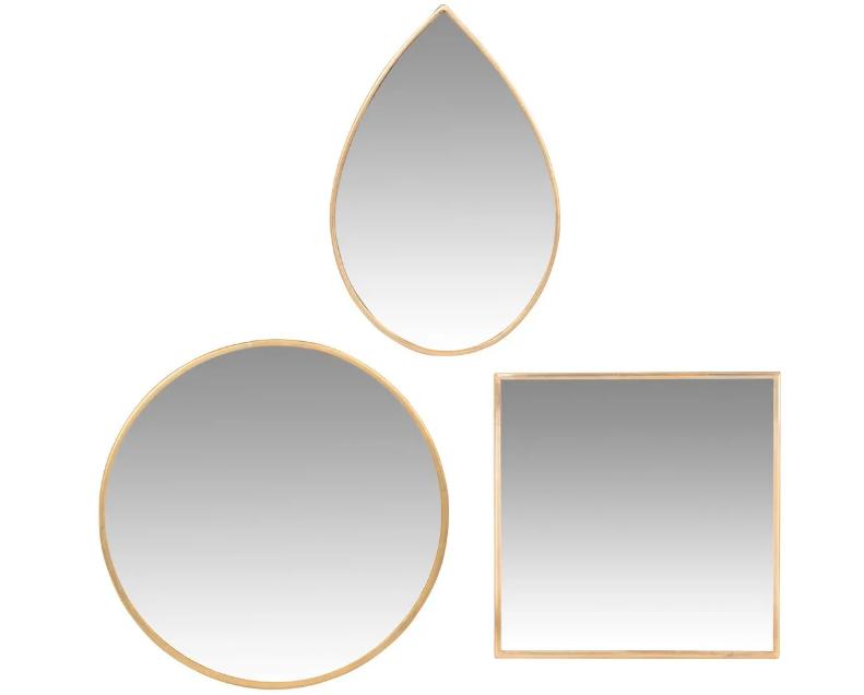 Espejos de metal dorado (x3)