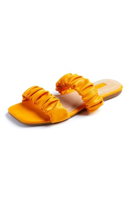 Primark 3089608 Orange Two Strap Scrunchy Sandals 8 10 11 Pln43 4e7b9