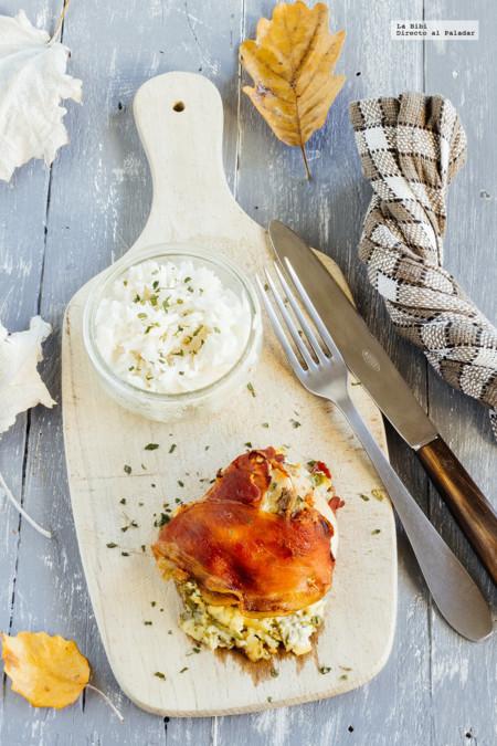 Rollo de jamón serrano, pollo y queso crema. Receta