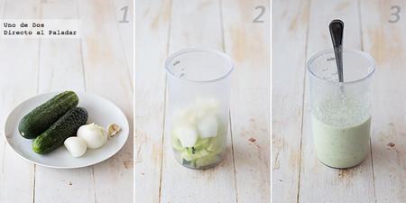 Receta de crema fría de pepino, yogur griego y menta paso a paso