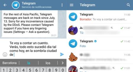 Telegram 3.10 guarda tus textos sin acabar en borradores, con nuevo reproductor de vídeo y más