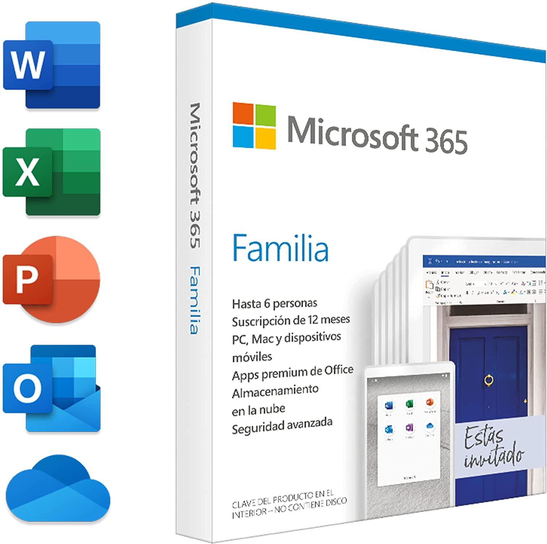 Microsoft 365 Familia   Suscripción anual   Para 6 PCs o Macs, 6 tabletas incluyendo iPad, Android, o Windows, además de 6 teléfonos
