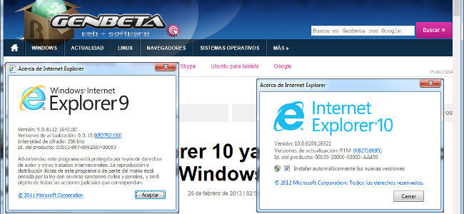 Internet Explorer 10 frente a Internet Explorer 9 en Windows 7