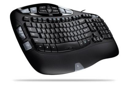 Logitech Wave Keyboard, teclado ergonómico y con cable