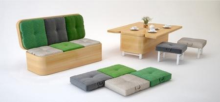 Sofá y mesa de comedor, dos en uno