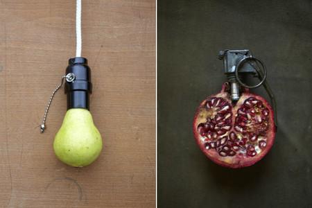 Arte surrealista mezclando objetos con comida