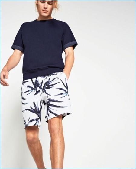 Zara Man 2016 Indigo Collection Print Shorts 800x991