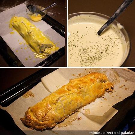 hojaldre de bacalao y pimientos - preparación 2