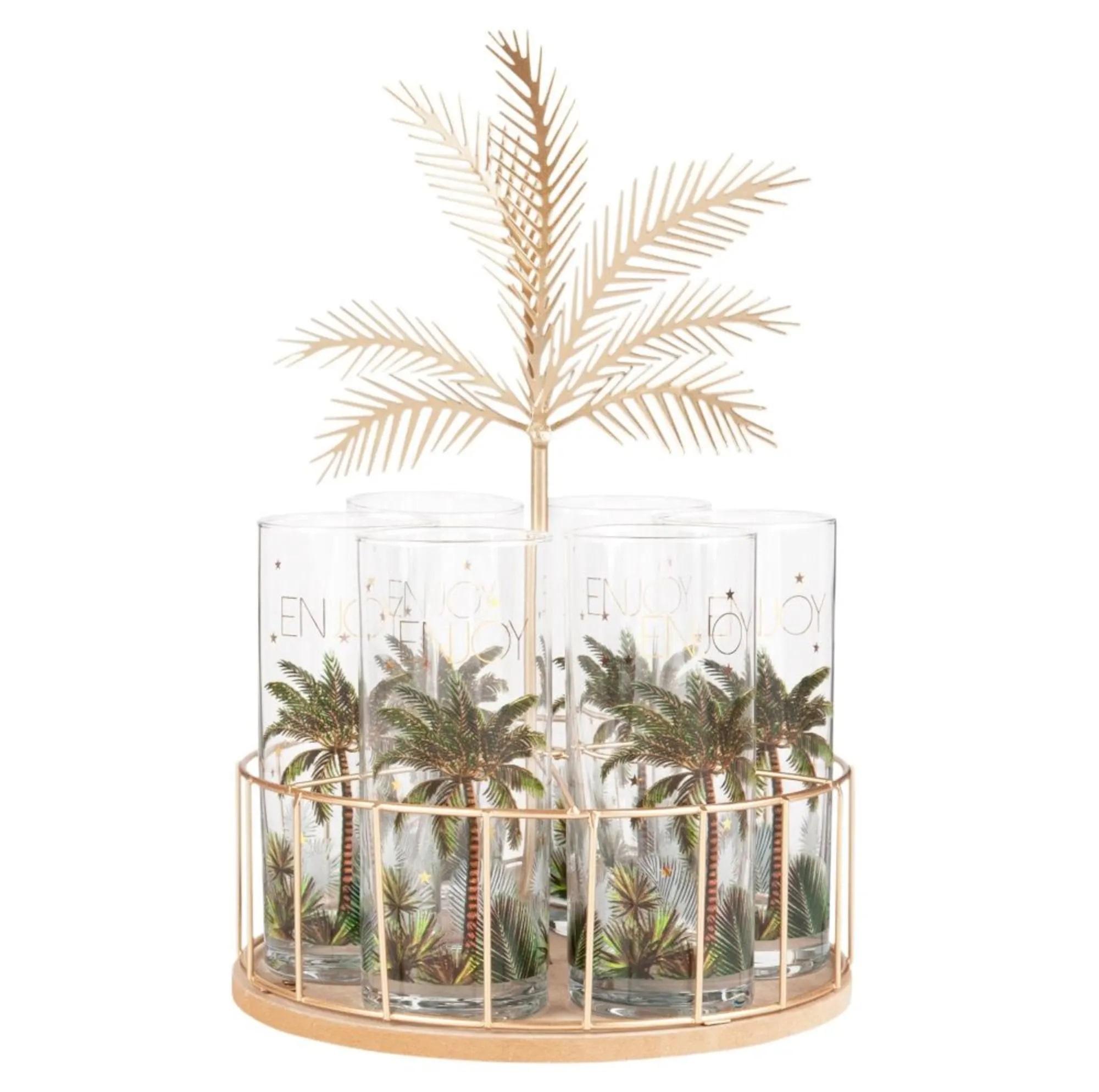 Soporte de palmera de metal con seis vasos de cristal con estampado de palmera