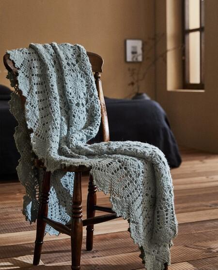 Manta Crochet Con Dibujos Florales