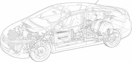 Honda FCX Clarity dibujo de línea