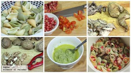 Ensalada Pasta Pesto y codoniz