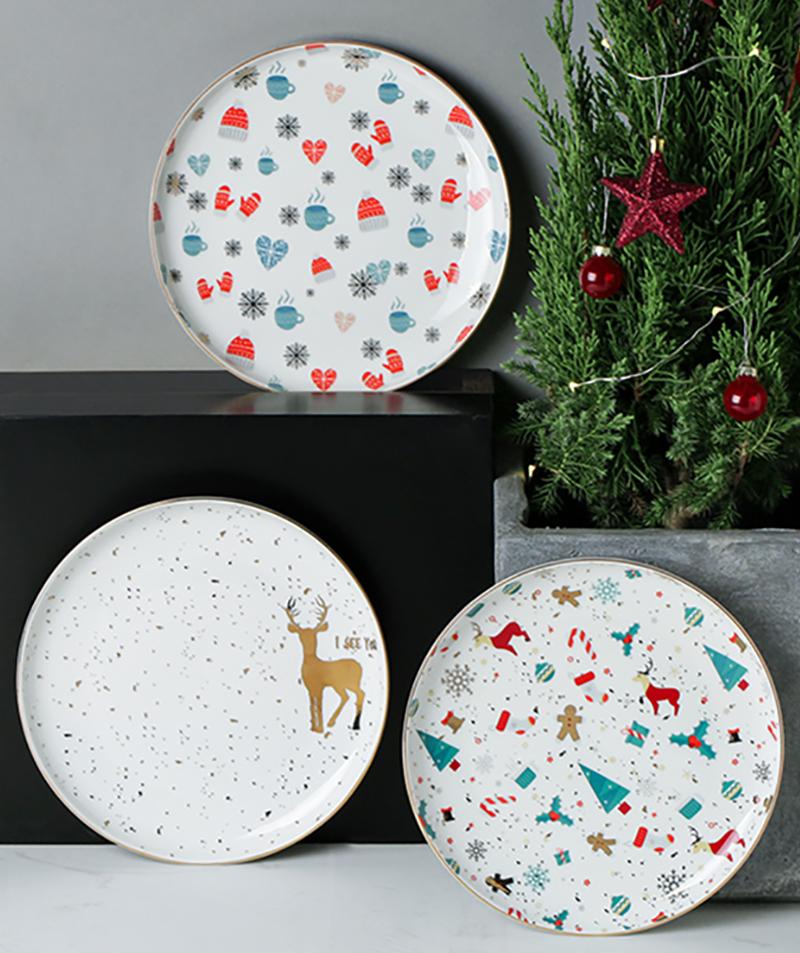 Plato de cena plato de Navidad bandeja de cerámica Vajilla Ceramica Vajilla innovador muñeco de nieve plato de carne plato de postre bandeja redonda