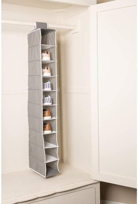 Premier Housewares - Organizador de Zapatos para Colgar con 10 Secciones, en Gris y Blanco, 14x29x118 cm