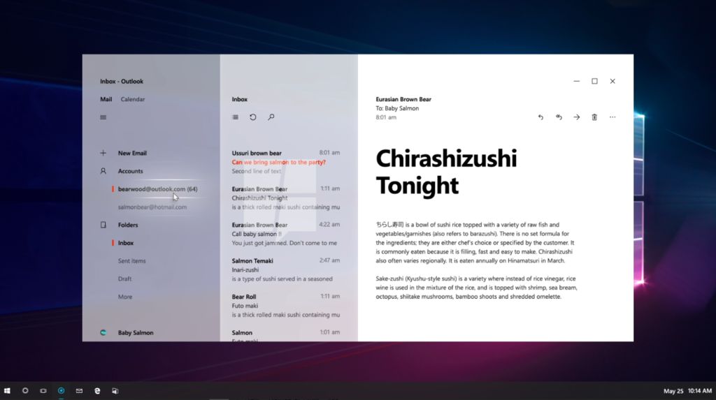 inbox windows 10 neon