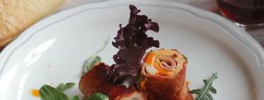 Rollitos de pechuga de pavo con salsa de hortalizas. Receta