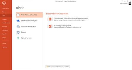 PowerPoint 2013, integración con SkyDrive