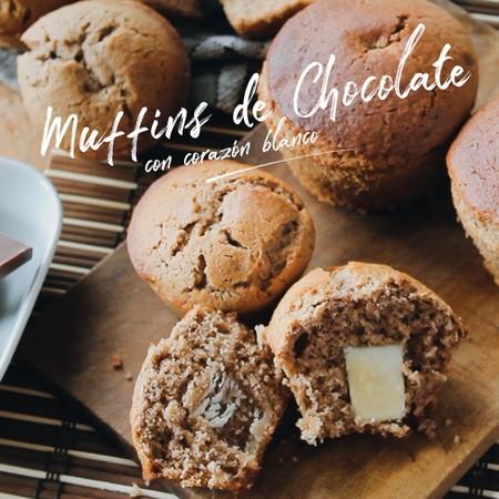 Muffins de chocolate con corazón blanco. Receta en video