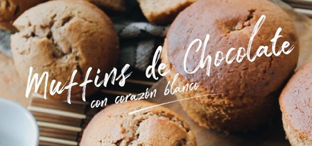 Muffins de chocolate con corazón blanco. Receta en video