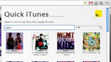 Quick iTunes para Chrome, explorando la tienda iTunes y la App Store desde el navegador