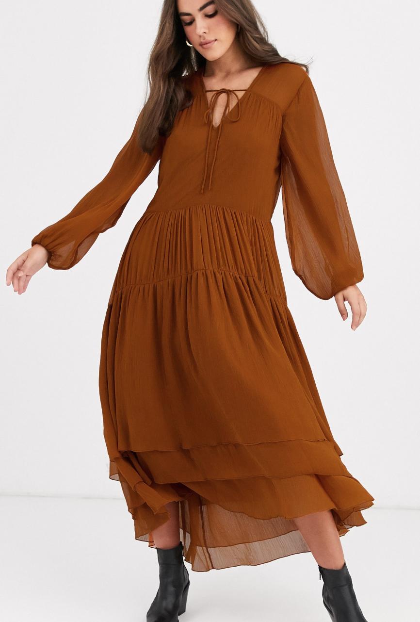 Vestido largo a capas marrón de Vila
