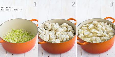 Receta de crema de coliflor al azafrán paso a paso