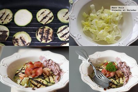ensalada de calabacín y jamón