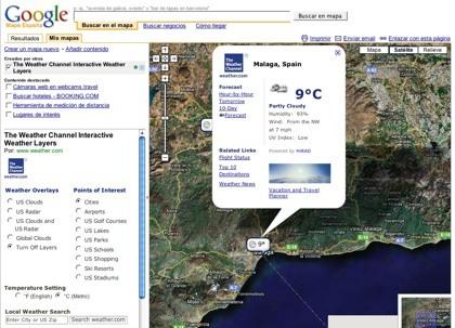 La información meteorológica en Google Maps y Google Earth