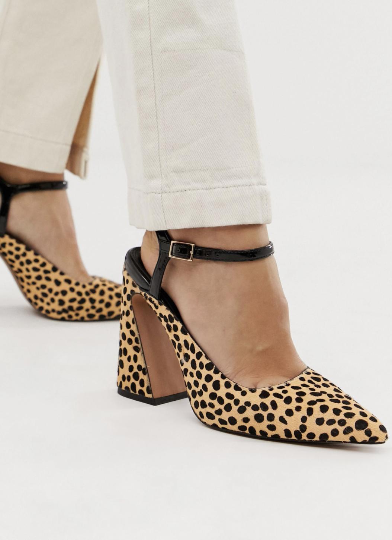 Zapatos de tacón de cuero con estampado animal Pioneer de ASOS DESIGN Premium