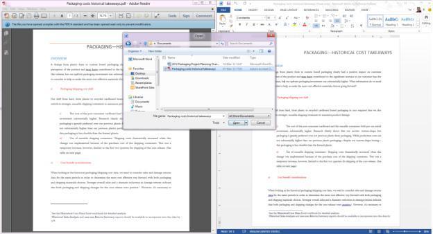 Word 2013 al lado de Adobe Reader, leyendo el mismo documento