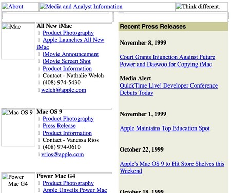 Apple Notas Prensa 1999