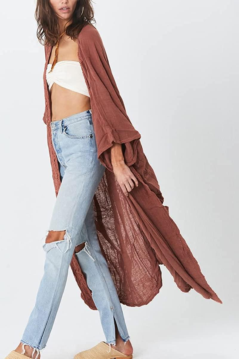 L-Peach Mujer Vestido Largo de Playa Kaftan Maxi Pareo Bikini Cover Ups