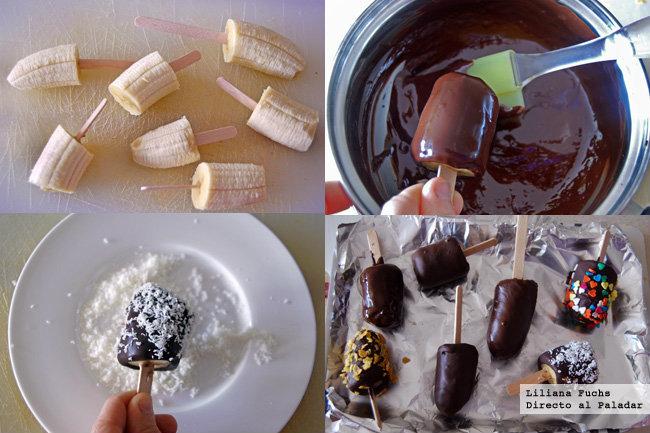 Polos sencillos de plátano con chocolate