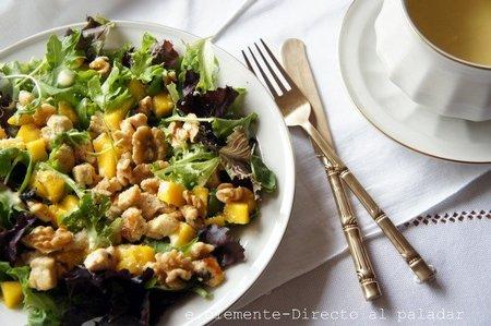 Ensalada de mango y pollo. Receta