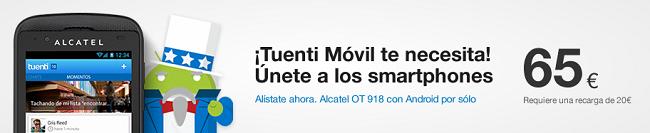 Tuenti incorpora a su catálogo el Alcatel OT 918, un Android básico por 65 euros