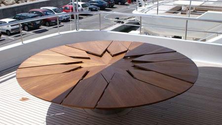 Capstan table la mesa extensible que se despliega sola for Mesa circular extensible