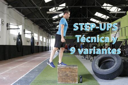 Ejercicio de fuerza step-ups, y sus nueve variantes
