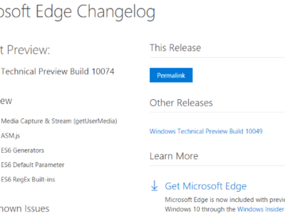 Ahora es posible consultar las novedades de cada versión de Edge desde esta página
