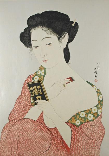 Retrato mujer empolvandose de Hashiguchi Goy