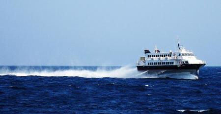 Viajando en barco entre Japón y Corea